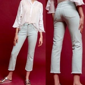 anthropologie Script Fringe Cropped Jeans